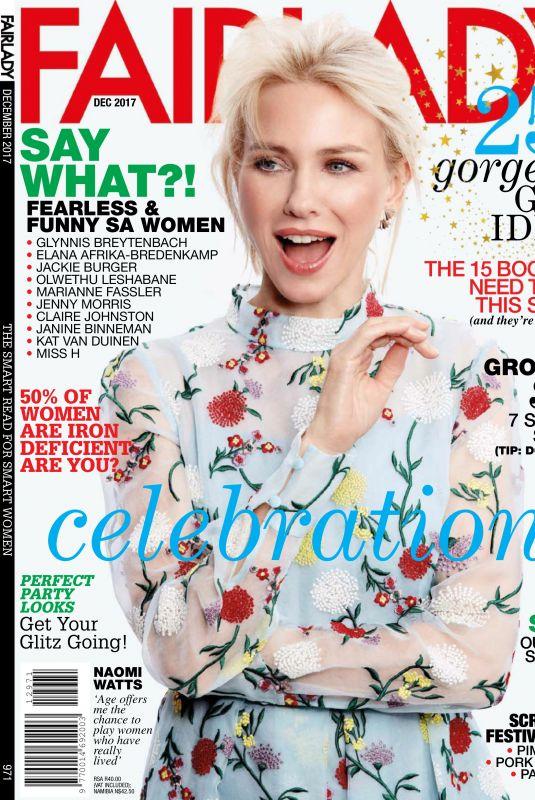NAOMI WATTS in Fairlady Magazine, December 2017