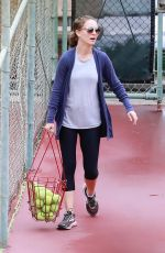 NATALIE PORTMAN at a Tennis Class in Los Angeles 10/31/2017