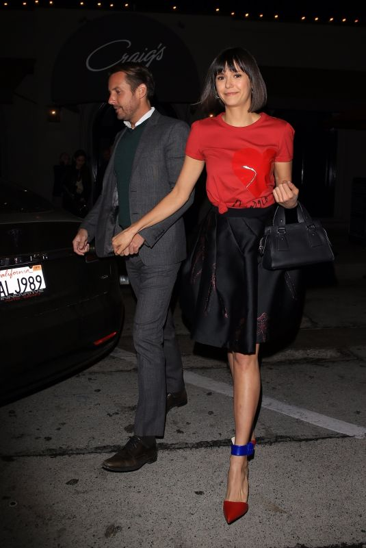 NINA DOBREV and Glen Powell Leaves Craig's Restaurant in West Hollywood 11/20/2017