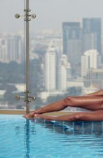 PRECIOUS MUIR in Bikini on the Set of a Photoshoot at a Roof Pool in Bangkok 11/15/2017
