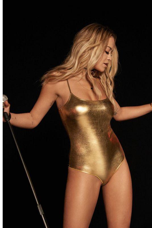 RITA ORA in Gold Swimsuit for Tezenis, 2017 Campaign