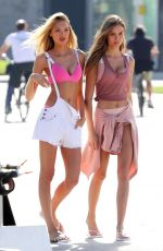 ROMEE STRIJD and JOSEPHINE SKRIVER on the Set of a Victoria
