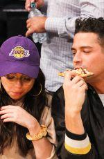 SARAH HYLAND and Wells Adams at Lakers vs Bulls Game at Staples Center in Los Angeles 11/21/2017