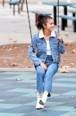 SELENA GOMEZ in Jeans at a Park in Burbank 11/02/2017