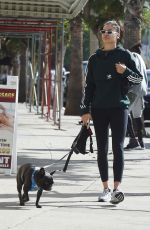 SHANINA SHAIK Walks Her Dog Out in Los Angeles 11/27/2017