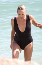 SHARON STONE in Swimsuit at a Beach in Miami 11/05/2017