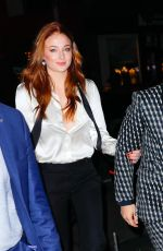 SOPHIE TURNER Arrives at Her Engagement Party in New York 11/04/2017