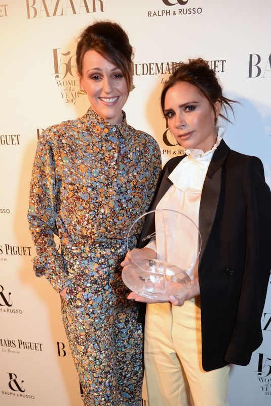 SURANNE JONES and VICTORIA BECKHAM at Harper's Bazaar Women of the Year Awards in London 11/02/2017