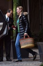 UMA THURMAN Leaves Her Hotel in New York 11/26/2017