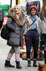 VANESSA HUDGENS and ANNALEIGH ASHFORD on the Set of Second Act in New York 11/08/2017