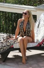 AISLEYNE HORGAN WALLACE in Swimsuit at a Pool in Los Angeles 12/26/2017