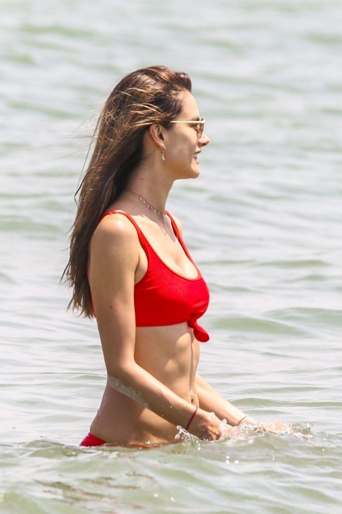 Alessandra Ambrosio in Red Bikini on the beach in Florianopolis Pic 8 of 35