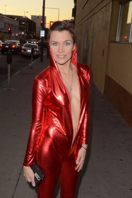 ALICIA ARDEN in a Red Bodysuit Out in Los Angeles 12/12/2017