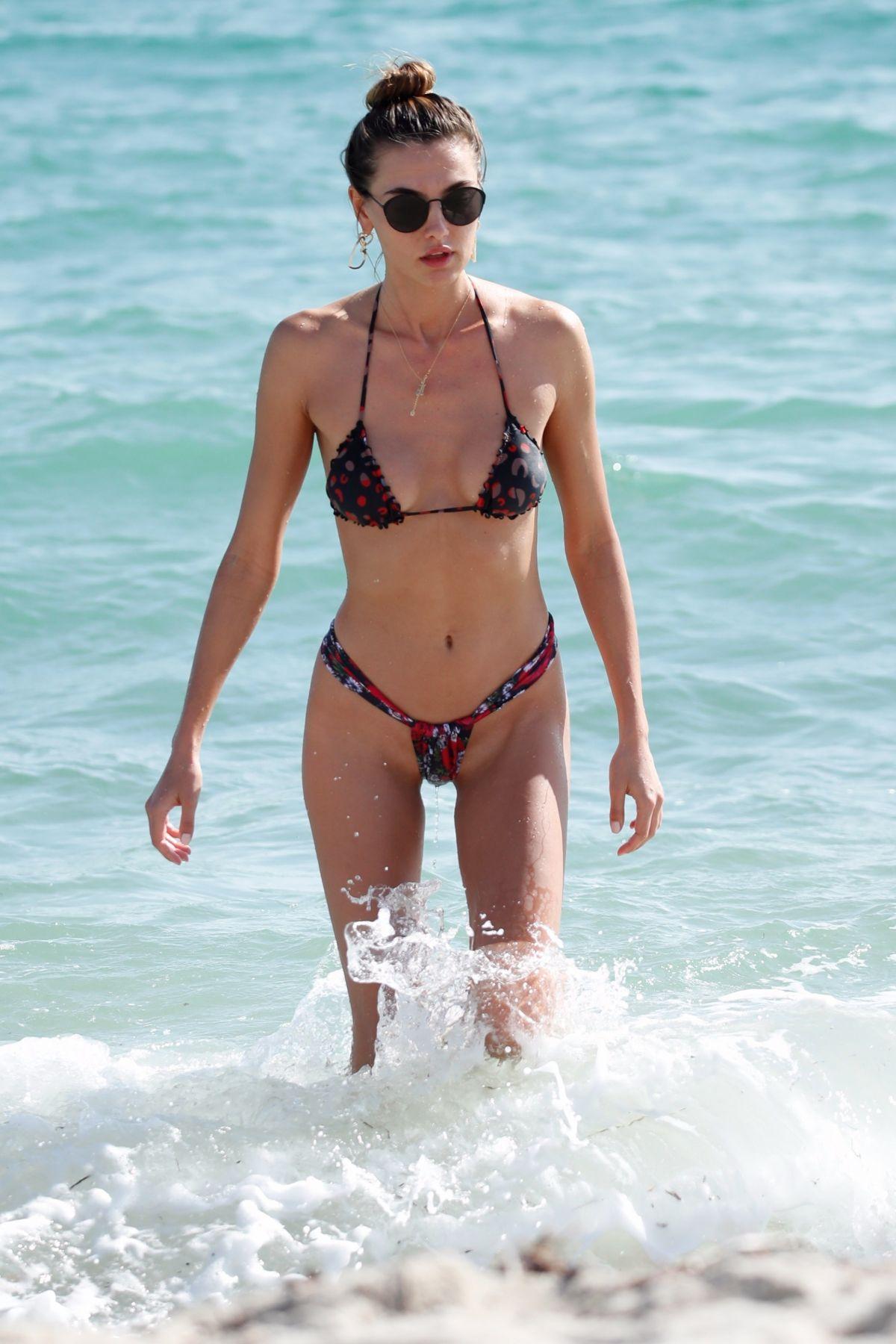 Lily Moulton in White Bikini on the beach in Miami Pic 19 of 35