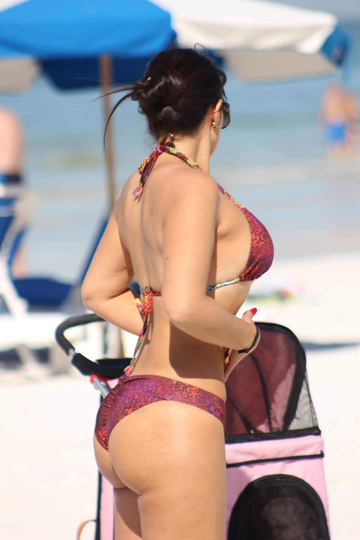 Andrea Calle in Bikini Top and Shorts Pic 5 of 35