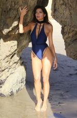 BLANCA BLANCO in Swimsuit on the Set of a Photoshoot at a Beach in Malibu 12/08/2017