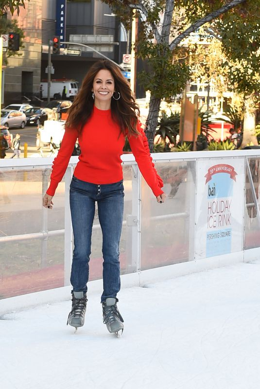 BROOKE BURKE at Pershing Square Ice Rink in Los Angeles 12/21/2017