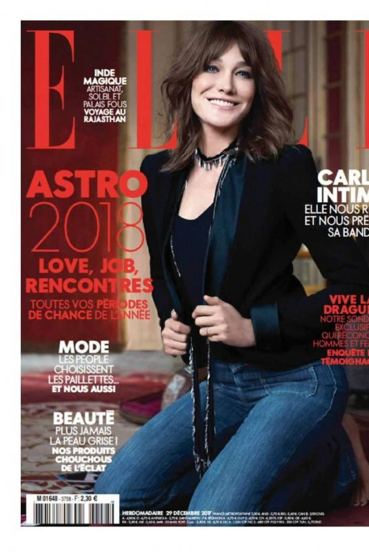 CARLA BRUNI in Elle Magazine, France December 2017 Issue