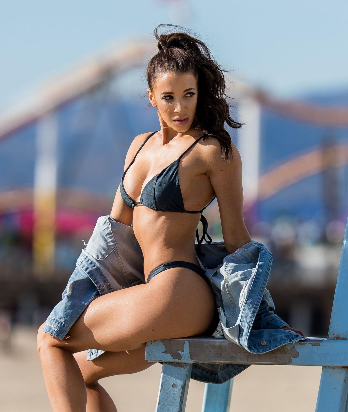 Casey Martin in Black Bikini on the beach in Santa Monica Pic 2 of 35