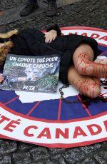 CASSANDRA FORET Protest Against Canada Goose Company in Paris 12/22/2017
