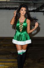 CHLOE KHAN in Green Santa Outfit Out in Liverpool 12/30/2017