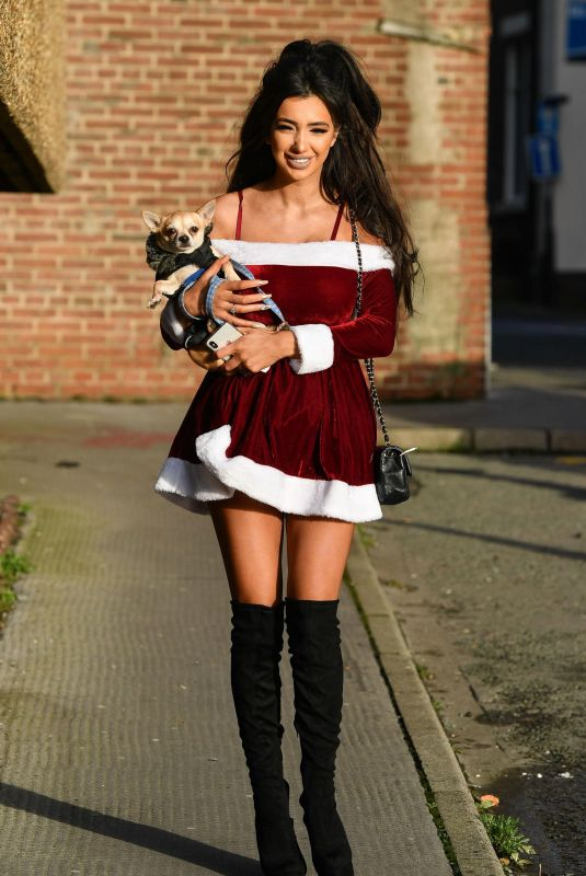 CHLOE KHAN Out with Her Dog in Liverpool 12/18/2017