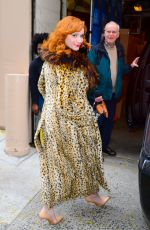 CHRISTINA HENDRICKS Arrives at Live with Kelly and Ryan in New York 12/13/2017