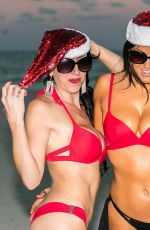 CLAUDIA ROMANI and BELLA BOND in Bikini on the Beach in Miami 12/18/2017