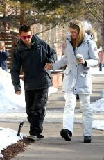 ELLE EVANS and Matthew Bellamy Out for Coffee in Aspen 12/27/2017