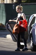 ELLE FANNING in Tights Leaves a Gym in Beverly Hills 12/02/2017