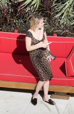 EMMA ROBERTS in Leopard Print Skirt and Top at a Beach in Miami 12/14/2017