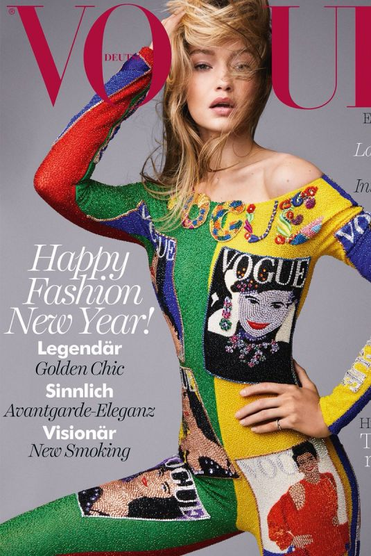 GIGI HADID on the Cover of Vogue Magazine, Germany January 2018 Issue