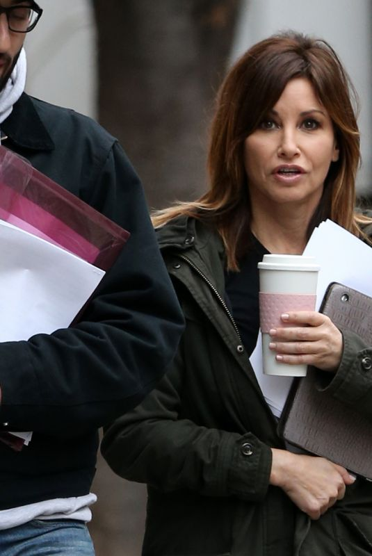 GINA GERSHON on the Set of Fashion Victim in New York 12/03/2017