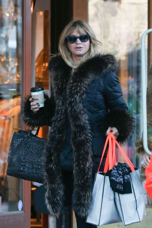 GOLDIE HAWN Out Shopping in Aspen 12/29/2017