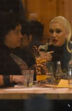 GWEN STEFANI Out for Dinner at Yalla Yalla Beirut Street Restaurant in London 11/30/2017