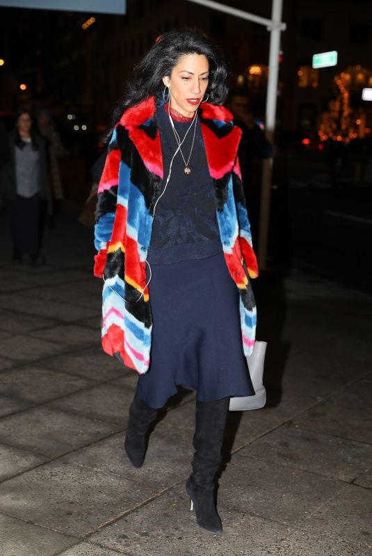 HUMA ABEDIN Night Out in New York 12/18/2017