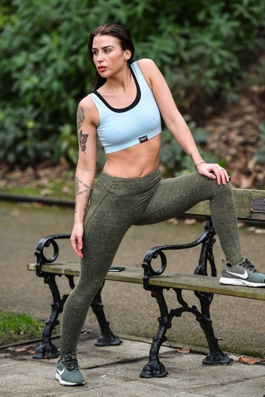 JENNY THOMPSON Working Out a a Park in Bolton 12/07/2017