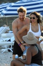 JESSICA LEDON and David Guetta at a Beach in Miami 12/25/2017