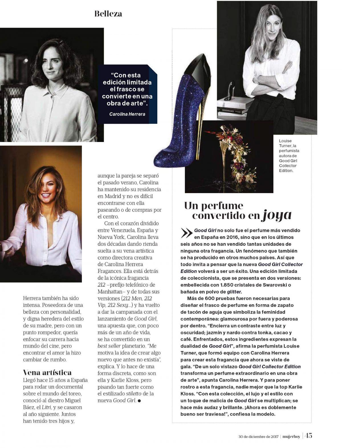 80d607411283 KARLIE KLOSS and CAROLINA HERRERA in Mujer Hoy Magazine, December ...