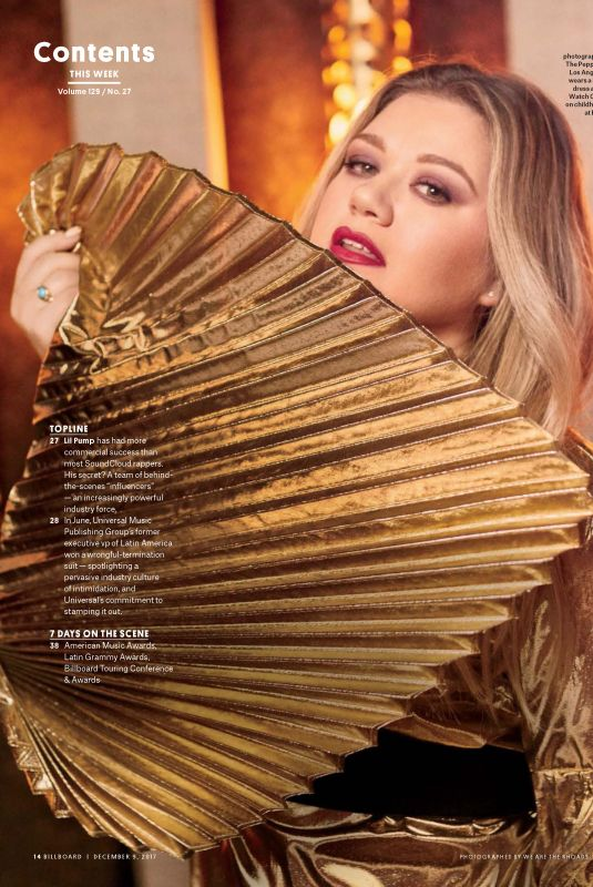 KELLY CLARKSON in Billboard Magazine, December 2017