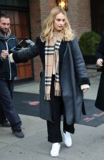LILY JAMES Leaves Her Hotel in New York 12/05/2017