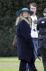 LILY JAMES with Broken Toe on the Set of Mamma Mia 2 in London 11/30/2017