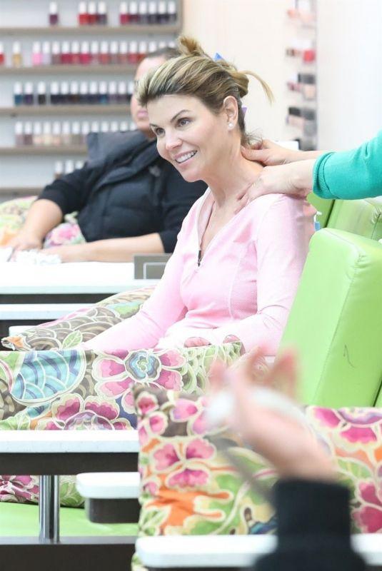 LORI LOUGHLIN at a Nail Salon in Beverly Hills 12/26/2017