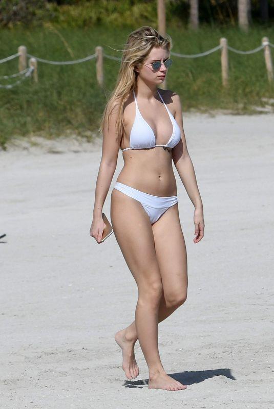 LOTTIE MOSS ikn Bikini at a Beach in Miami 12/27/2017