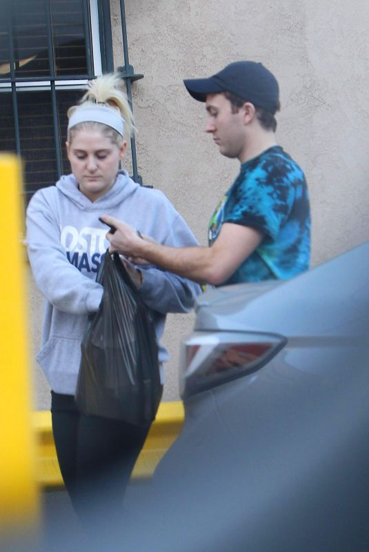 MEGHAN TRAINOR and Daryl Sabara Shopping at Romantix Store in Los Angeles 12/28/2017