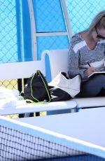 MICHALA BURNS Watches Jack Sock Training in Perth 12/29/2017