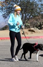 MILEY CYRUS Out with Her Dog in Los Angeles 12/18/2017