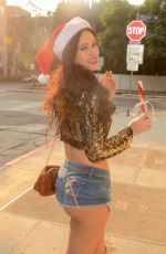 NATASHA BLASICK in a Santa Hat and Denim Shorts Out in Los Angeles 12/17/2017