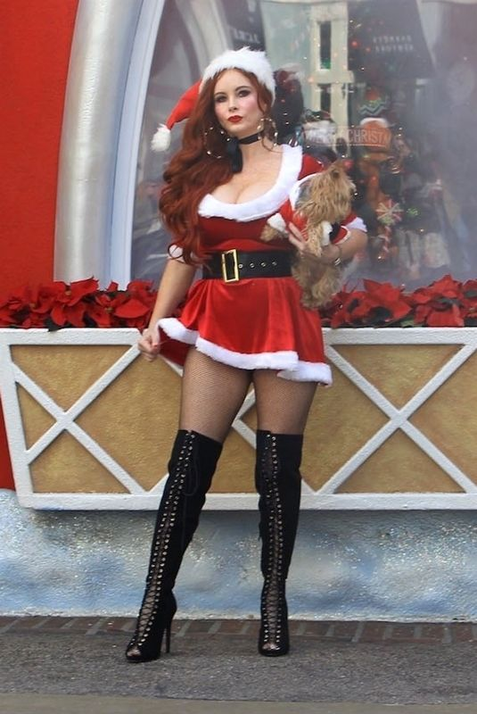 PHOEBE PRICE in Santa Outfit at Santa