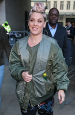 PINK Arrives at BBC Radio 1 Studios in London 12/01/2017
